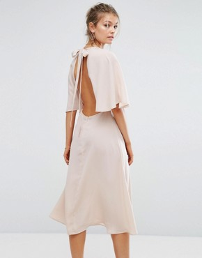 photo Embroidered Midi Dress with Angel Sleeve by Hope & Ivy, color Apricot - Image 2