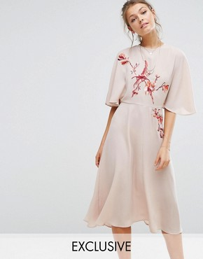 photo Embroidered Midi Dress with Angel Sleeve by Hope & Ivy, color Apricot - Image 1