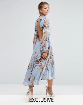 photo Printed Open Back Midi Dress with Lace Inserts by Hope & Ivy, color Blue/Multi Print - Image 1