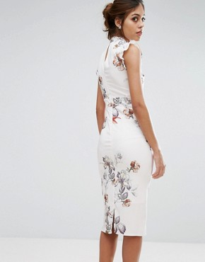 photo Midi Dress In Print with Lace Insert by Hope & Ivy, color Ivory/Print - Image 2