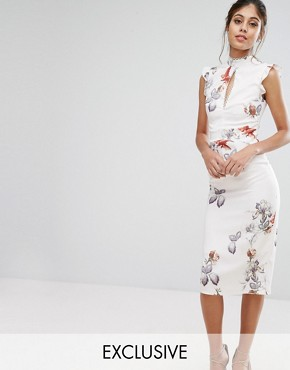photo Midi Dress In Print with Lace Insert by Hope & Ivy, color Ivory/Print - Image 1