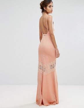 photo Maxi Dress with Low Back and Eyelash Lace Trim by Hope & Ivy, color Apricot - Image 2