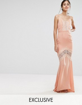 photo Maxi Dress with Low Back and Eyelash Lace Trim by Hope & Ivy, color Apricot - Image 1