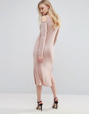 photo Cold Shoulder Dress with Key Hole by Glamorous, color Nude - Image 2