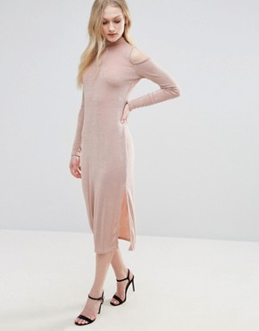 photo Cold Shoulder Dress with Key Hole by Glamorous, color Nude - Image 1