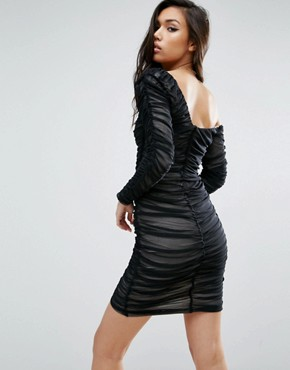 photo Mesh Ruched Off The Shoulder Mini Bodycon Dress by ASOS, color Black - Image 2