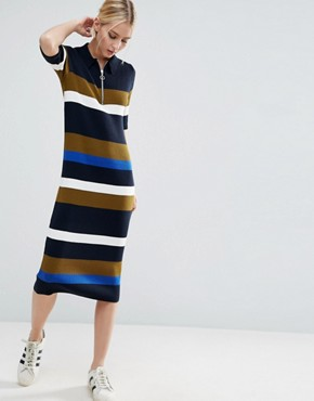 photo Knitted Polo Dress In Stripe by ASOS, color  - Image 1
