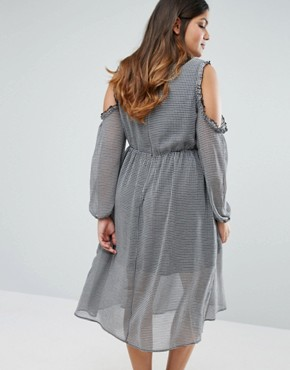 photo Ruffle Cold Shoulder Tea Dress In Gingham by Alice & You, color Black - Image 2
