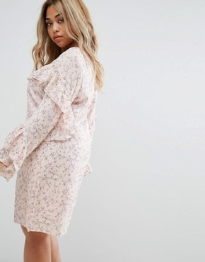 photo Ruffle Sleeve Tea Dress by Alice & You, color Pink - Image 2