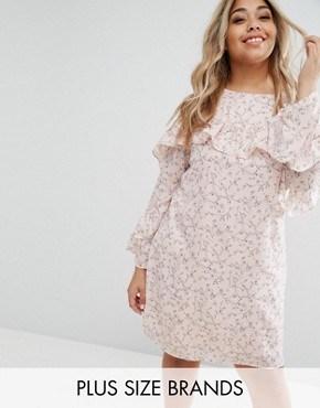 photo Ruffle Sleeve Tea Dress by Alice & You, color Pink - Image 1