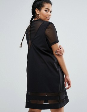 photo 2 In 1 Shift Dress with Mesh Insert by One One Three, color Black - Image 2