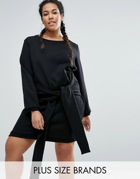 photo Tie Front Sweat Dress by One One Three, color Black - Image 1