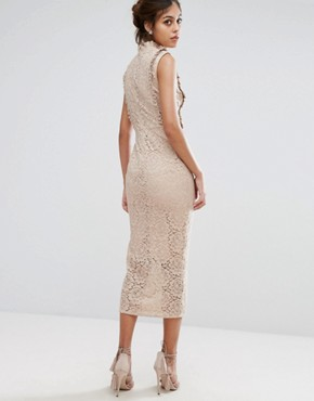 photo Embroidered High Neck Midi Dress In Allover Lace by Hope & Ivy, color Nude/Multi - Image 2