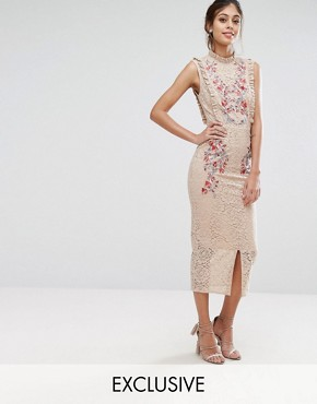 photo Embroidered High Neck Midi Dress In Allover Lace by Hope & Ivy, color Nude/Multi - Image 1