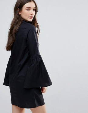 photo Flared Sleeve Cotton Shirt Dress by Influence, color Black - Image 2