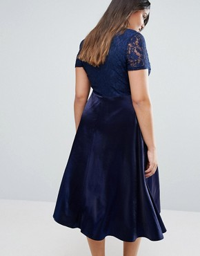 photo Lace Bardot Full Skirt Midi Dress by Truly You, color Navy - Image 2