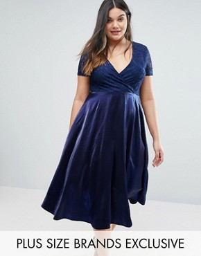 photo Lace Bardot Full Skirt Midi Dress by Truly You, color Navy - Image 1