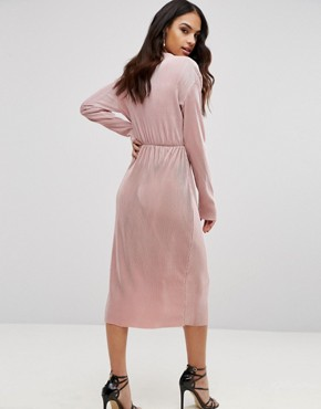 photo Plisse Wrap Over Long Sleeve Midi Dress by Club L, color Pink - Image 2