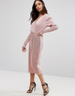 photo Plisse Wrap Over Long Sleeve Midi Dress by Club L, color Pink - Image 1