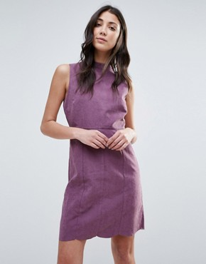 photo Faux Suede Button Back Shift Dress by Neon Rose, color Purple - Image 2