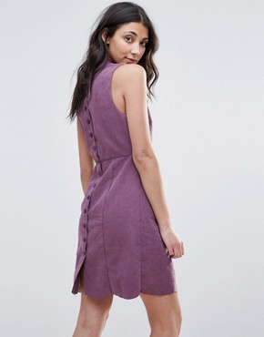 photo Faux Suede Button Back Shift Dress by Neon Rose, color Purple - Image 1