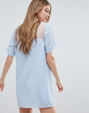 photo Minimal Skin Insert Shift Dress by Neon Rose, color Light Blue - Image 2