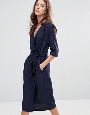 photo Relaxed Wrap Dress by Neon Rose, color Navy - Image 1