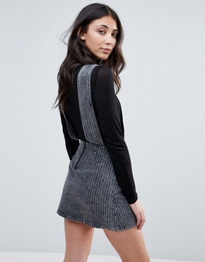 photo Pinstripe Denim Pinny Dress by Neon Rose, color Grey - Image 2