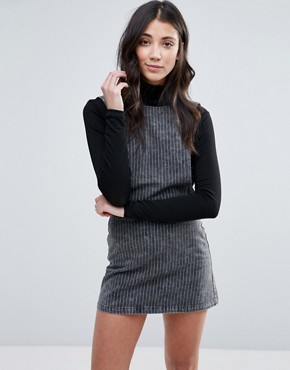 photo Pinstripe Denim Pinny Dress by Neon Rose, color Grey - Image 1