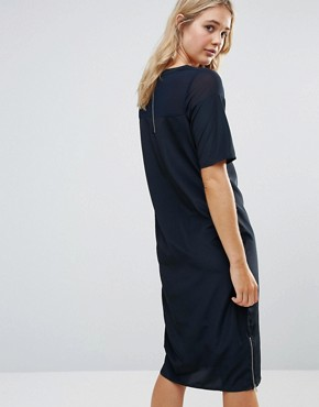 photo Sheer Panel Cocoon Midi Dress by Neon Rose, color Navy - Image 2