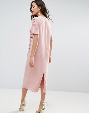 photo Embroidered Enchanted Midi Shift Dress by ASOS, color Dusty Pink - Image 2