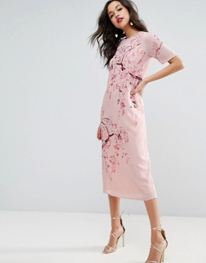 photo Embroidered Enchanted Midi Shift Dress by ASOS, color Dusty Pink - Image 1