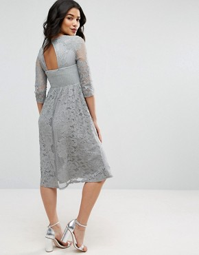 photo All Over Lace Crochet Skater Dress with 3/4 Sleeve by Little Mistress Maternity, color Grey - Image 2