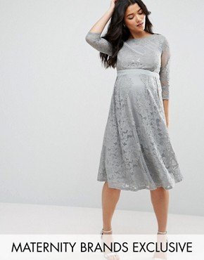 photo All Over Lace Crochet Skater Dress with 3/4 Sleeve by Little Mistress Maternity, color Grey - Image 1
