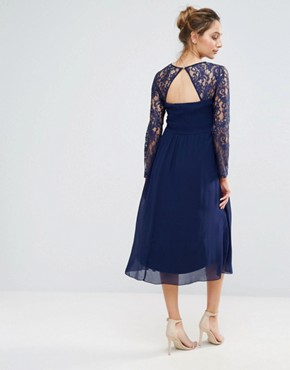photo Grid Lace Midi Swing Dress by Little Mistress Maternity, color  - Image 2