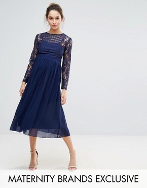 photo Grid Lace Midi Swing Dress by Little Mistress Maternity, color  - Image 1