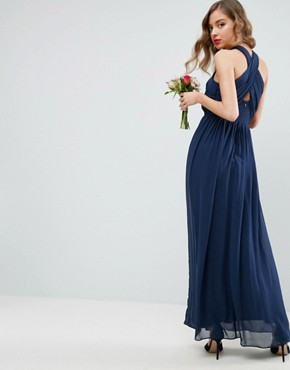 photo Chiffon Twist Front Ruched Maxi Dress by ASOS, color Navy - Image 2