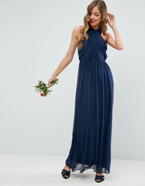 photo Chiffon Twist Front Ruched Maxi Dress by ASOS, color Navy - Image 1