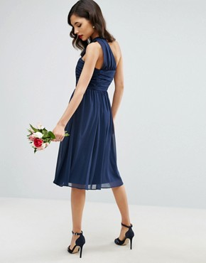 photo Chiffon Ruched One Shoulder Midi Dress by ASOS, color Navy - Image 2