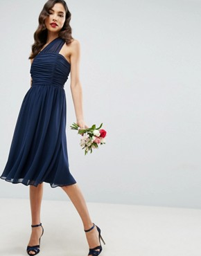 photo Chiffon Ruched One Shoulder Midi Dress by ASOS, color Navy - Image 1