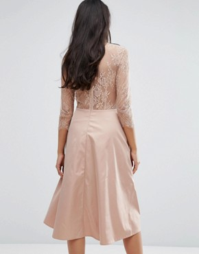 photo Pretty Skater Dress With Lace Yoke And 3/4 Sleeves by Y.A.S Tall, color Rose - Image 2