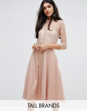 photo Pretty Skater Dress With Lace Yoke And 3/4 Sleeves by Y.A.S Tall, color Rose - Image 1