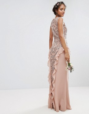 photo Embellished Maxi Dress with Ruffle Skirt Detail by Maya Tall, color Mauve - Image 2