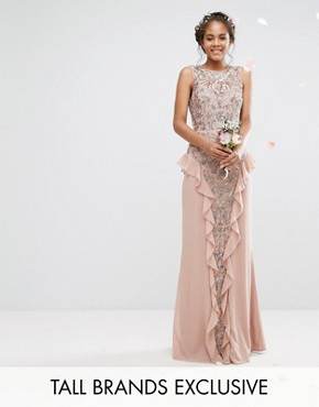 photo Embellished Maxi Dress with Ruffle Skirt Detail by Maya Tall, color Mauve - Image 1