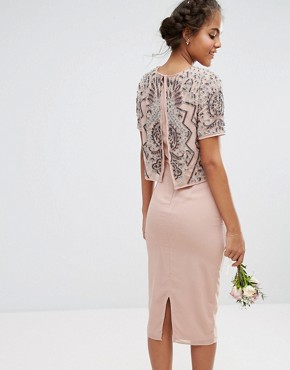 photo Embellished Top Overlay Dress by Maya Tall, color Mauve - Image 2