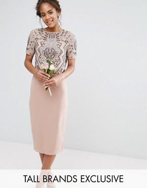 photo Embellished Top Overlay Dress by Maya Tall, color Mauve - Image 1