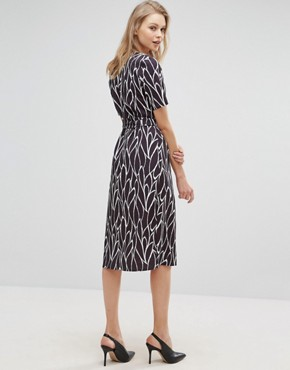 photo Wrap Front Dress In Mix Print by Alter Tall, color  - Image 2