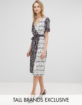 photo Wrap Front Dress In Mix Print by Alter Tall, color  - Image 1