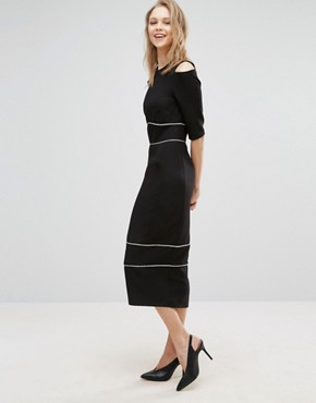 photo Cold Shoulder Pencil Dress with Piping Detail by Alter Tall, color Black - Image 2
