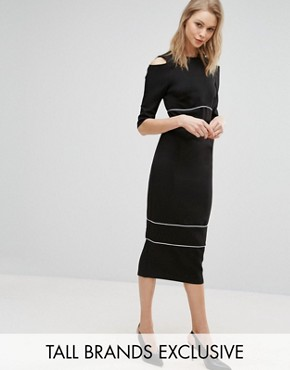 photo Cold Shoulder Pencil Dress with Piping Detail by Alter Tall, color Black - Image 1